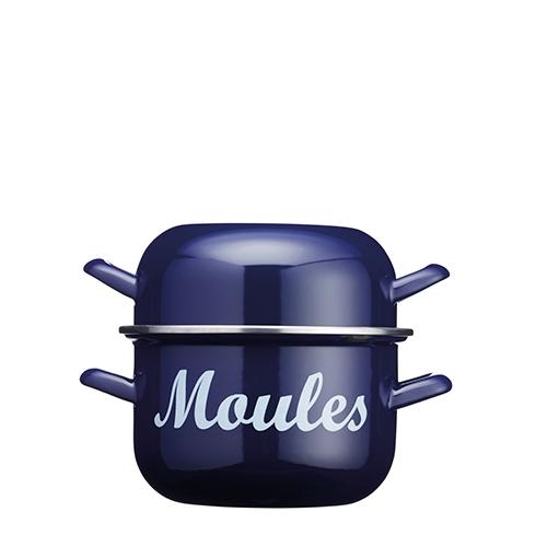 Kitchen Craft World of Flavours Enamel Mussel Pot 2.5 Ltr Blue