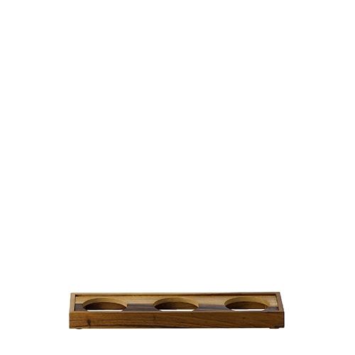Churchill 3 Bowl  Presentation Platform 44.5cm x 12.8cm x 4cm Brown