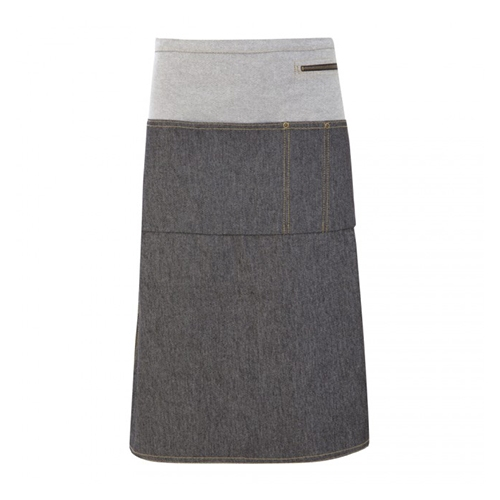 Oliver Harvey Denim Two Tone  Long Waist Apron 61cm x 72cm Grey