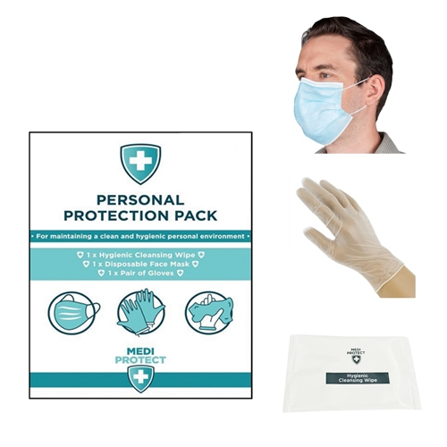 Personal Protection Pack (Wipe, Mask & Gloves)