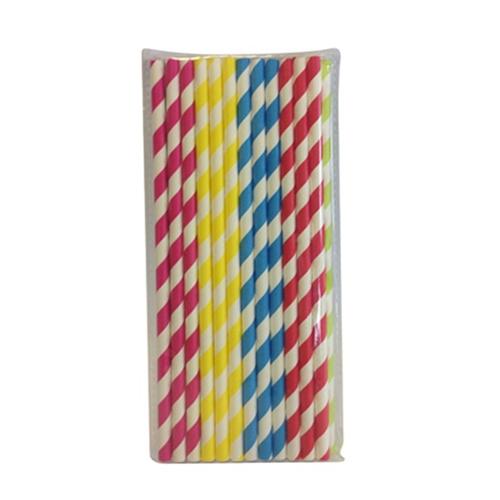Paper Striped Straws 20cm Assorted