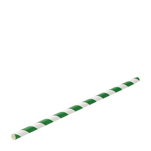Utopia Biodegradable Green Stripe Paper Straw 20cm (8