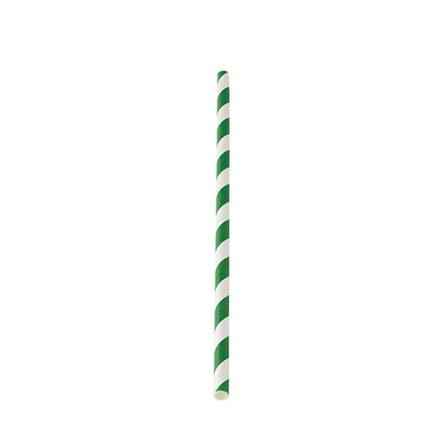"Biodegradable  Green Stripe Paper Straw 20cm (8"")"