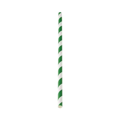 Green Stripe Paper Straw 20cm (8