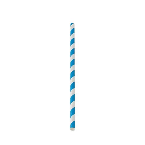 Utopia Biodegradable Blue Stripe Paper Straw 20cm (8