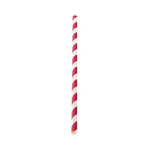 Utopia Red Stripe Paper Straw 20cm (8