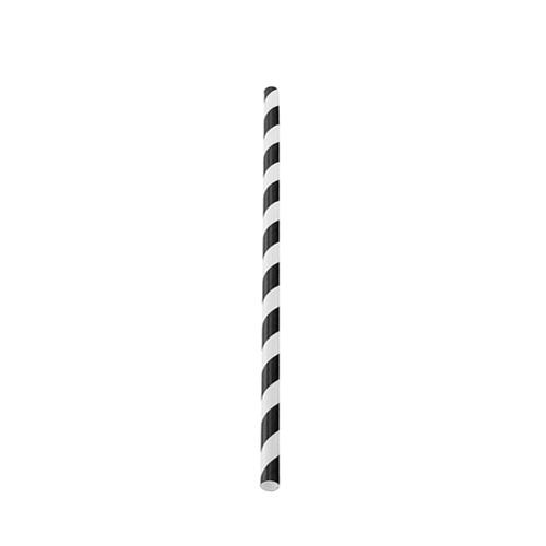 Utopia Biodegradable Black Stripe Paper Straw 20cm (8