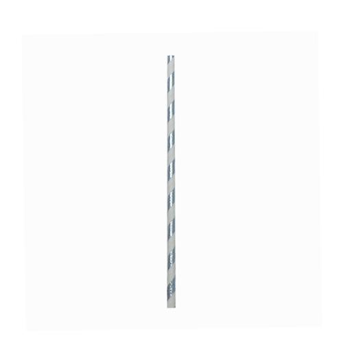Silver Stripe Paper Straw 20cm (8