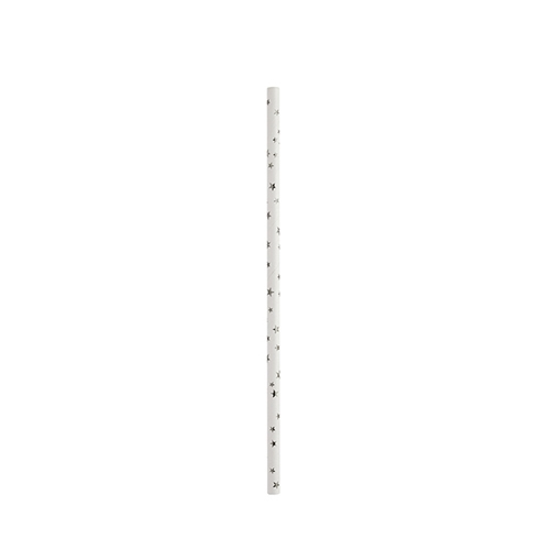 "Biodegradable Star Paper Straw 20cm (8"") White & Silver"