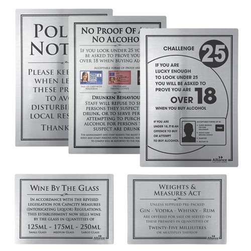 Alliance  Modern Bar Licensing Sign Pack Silver