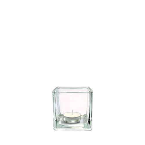 Square Glass Tealight Holder 7.5cm Clear
