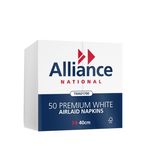 Alliance Airlaid  Dinner Napkin 40cm  White