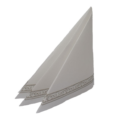 Swantex Swansoft White Napkin with Grey Border 40cm x 40cm
