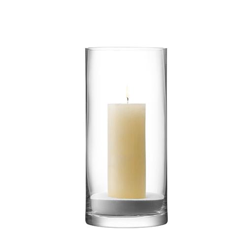 Column  Vase/Candleholder 28 x 13cm Clear