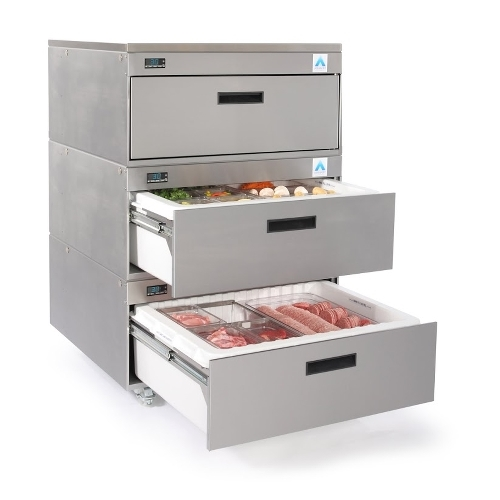 Adande Solid Top Rear Engine 3 Drawer VCR3CW Stainless Steel