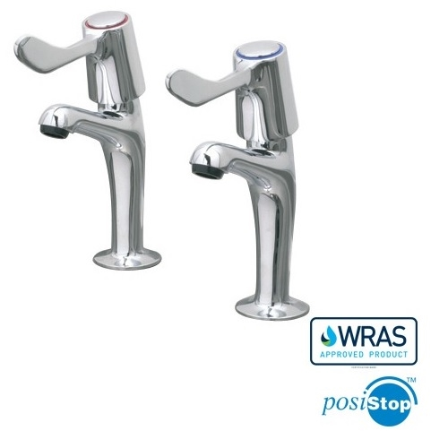 CED Pair 1/2'' (12mm) High Neck Pillar Taps- Lever Arm Stainless Steel