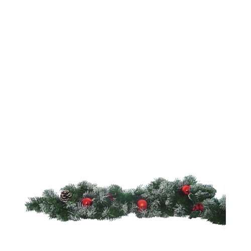 Red Berry Fern & Cone Garland 2.7m Green, Red & Brown