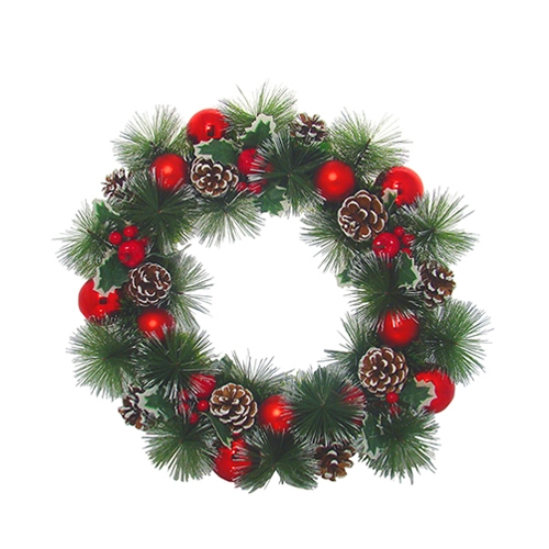 Red Berry Fern & Cone Wreath 46cm Green, Red & Brown