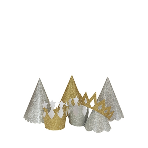 Miniature  Sparkly Hats & Crowns Gold & Silver Mix