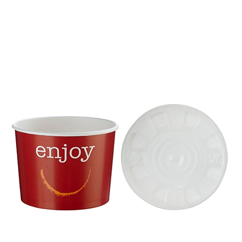 Huhtamaki Enjoy Soup Container & Lid 12oz Red