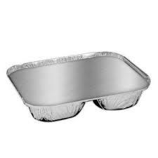 2 Compartment Lid for Foil Container Silver
