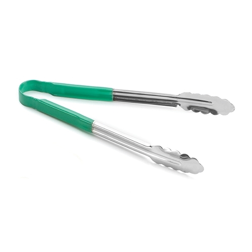 Tablecraft Vinyl Coated Utility Tongs Green Handle 305mm