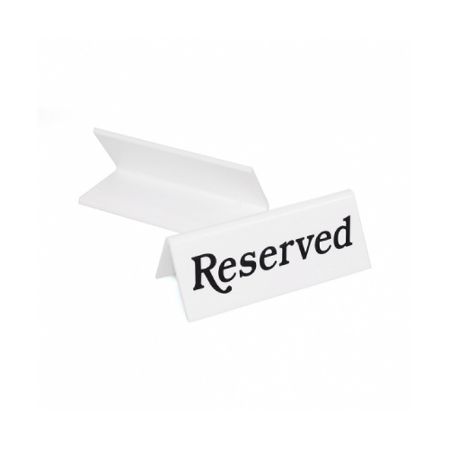 Mileta Reserved  Tent Sign Black/White